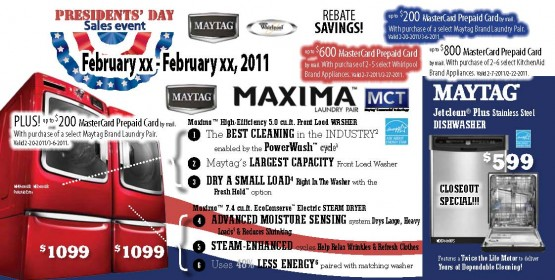 05JP2063WP Presidents' Day Sales Front of Mailer