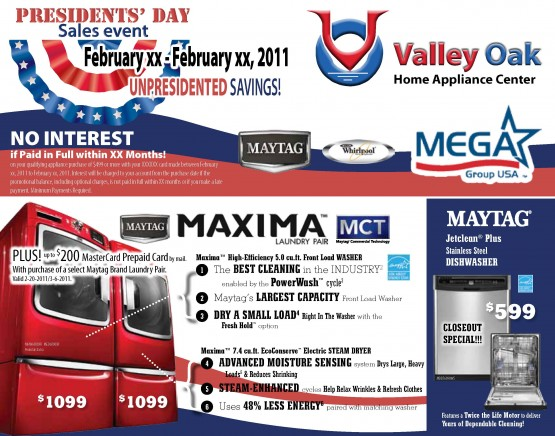 05LL2062WP Presidents' Day Sales Front of Mailer