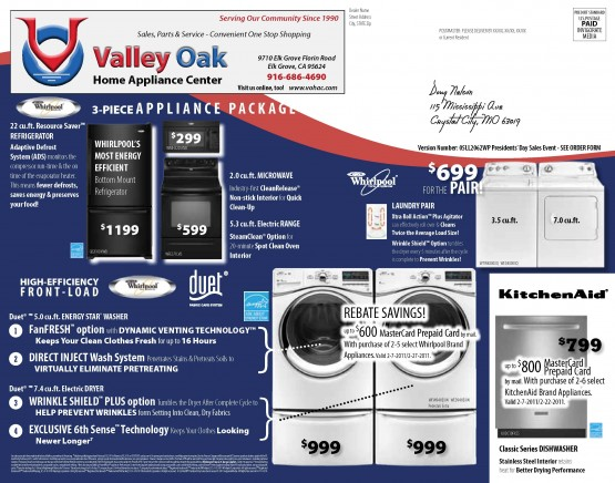 05LL2062WP Presidents' Day Sales Back of Mailer
