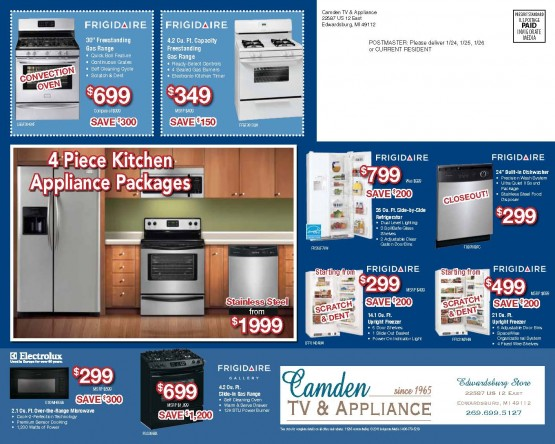 January Sales Event Back of Mailer
