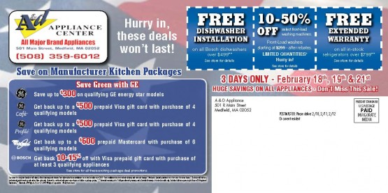 11960 A&D Appliance Medfield MA Back of Mailer