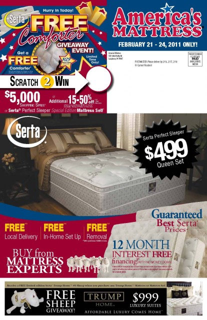11972 America's Mattress MontgomeryvillePA Front of Mailer