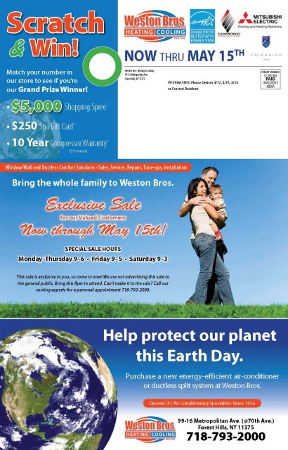 12092 Weston Brothers  Forest Hills NY Front of Mailer